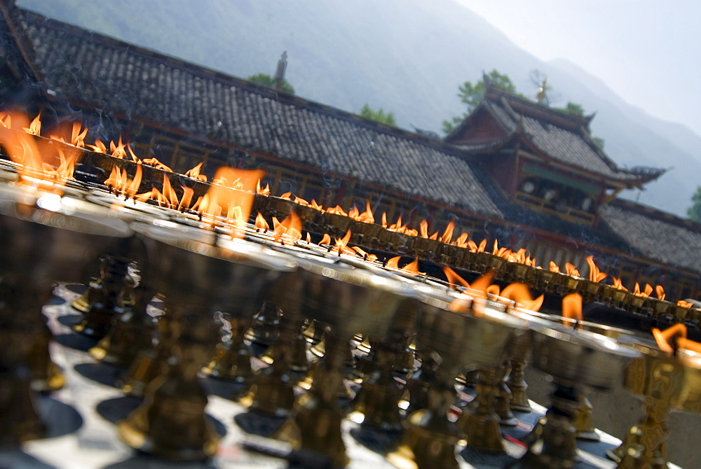 Prayer candles, Nanwu Temple, Kangding, Sichuan, China, Asia - 784-61