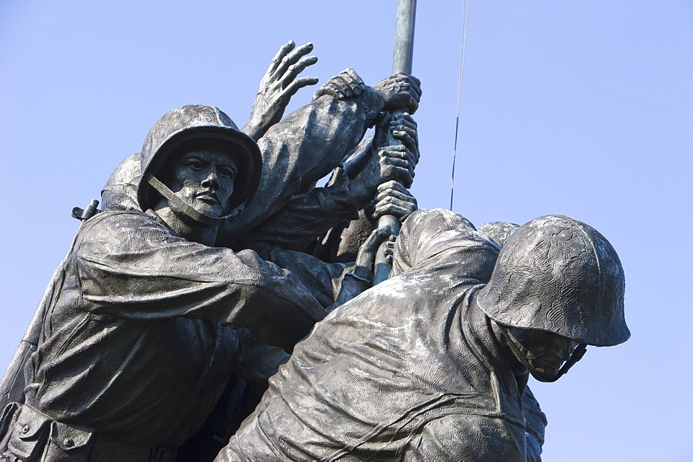 Detail of statue of Iwo Jima Memorial, Arlington National Cemetry, Washington D.C., United States of America, North America