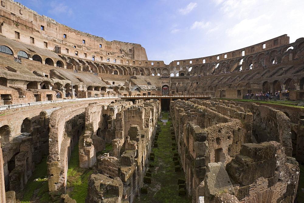 Inside the Colosseum amphitheatre, UNESCO World Heritage Site, Rome, Lazio, Italy, Europe