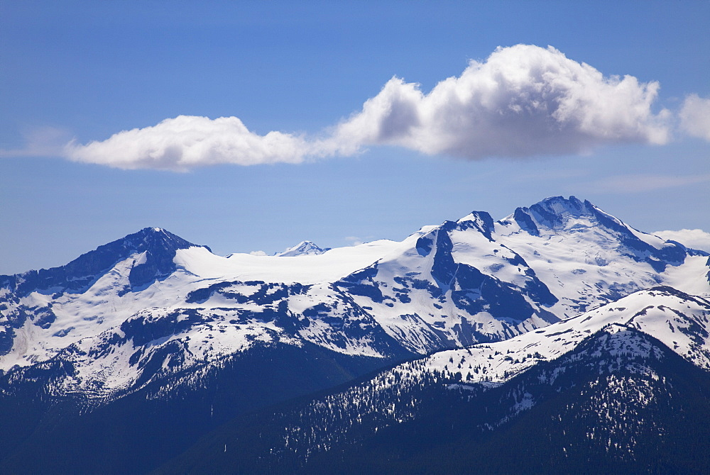 Snow covered mountains from the top of Whistler Mountain, Whistler, British Columbia, Canada, North America
