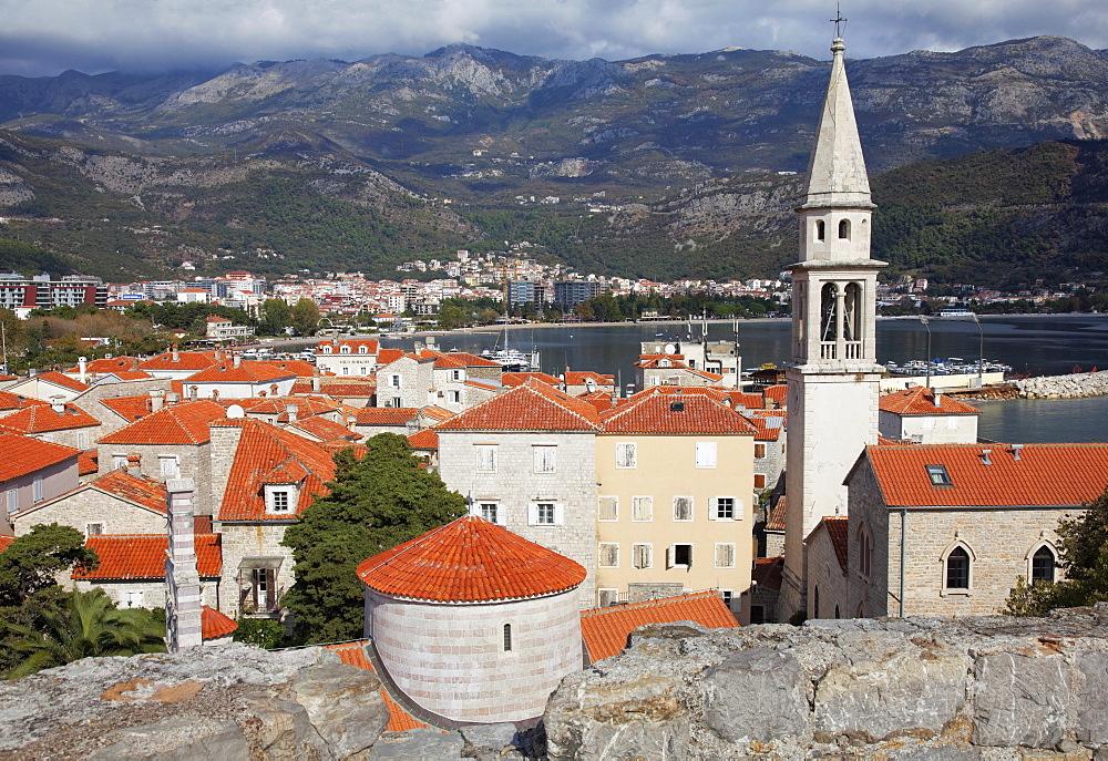 Church of the Holy Trinity, St. John's Church and the rooftops of Budva old town, Budva, Montenegro, Europe