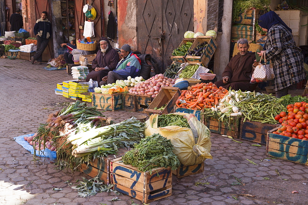Vegetables for sale at a street market near Bab Agnaou in Marrakech, Morocco, North Africa, Africa