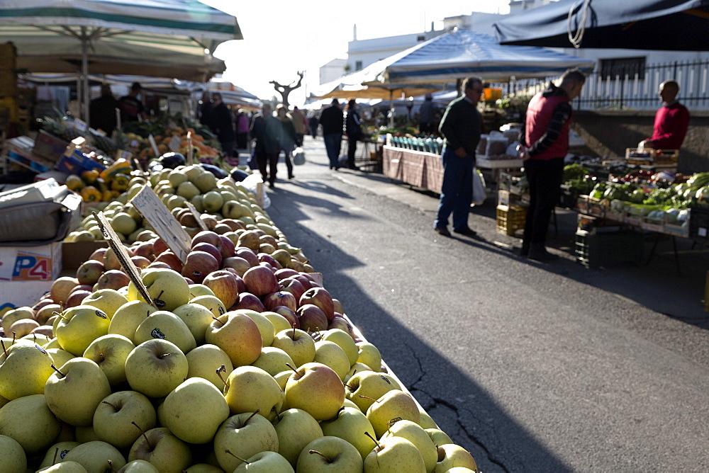 Apples for sale in market in Alberobello, Puglia, Italy, Europe