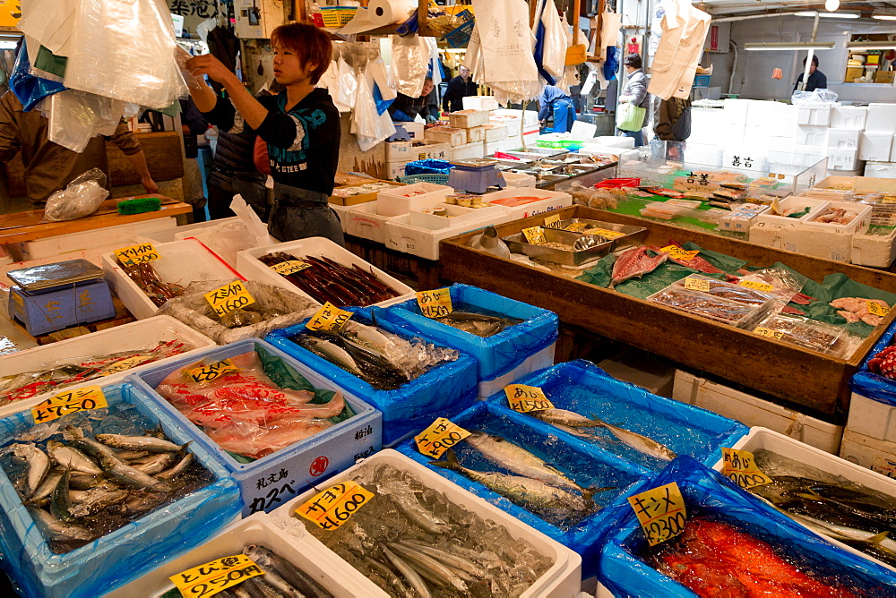 A stall with fresh fish for sale in Tsukiji Fish Market in Tokyo, Japan, Asia