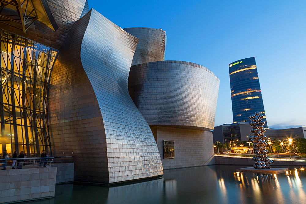 The Guggenheim Museum and Iberdrola Tower in Bilbao, Biscay (Vizcaya), Basque Country (Euskadi), Spain, Europe - 785-2106