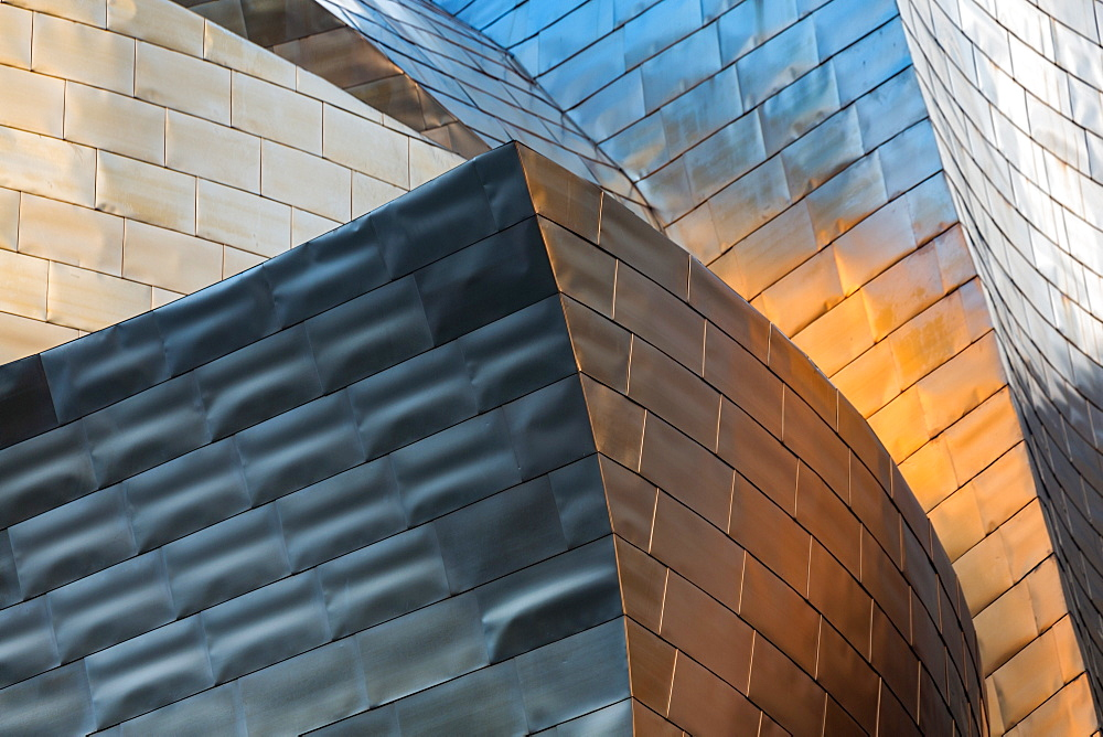 Detail of the titanium clad Guggenheim Museum, designed by Frank Gehry, Bilbao, Biscay (Vizcaya), Basque Country (Euskadi), Spain, Europe