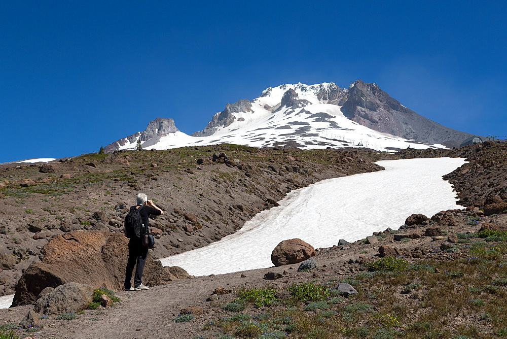 Lady hiker near a glacier on Mount Hood, part of the Cascade Range, Pacific Northwest region, Oregon, United States of America, North America