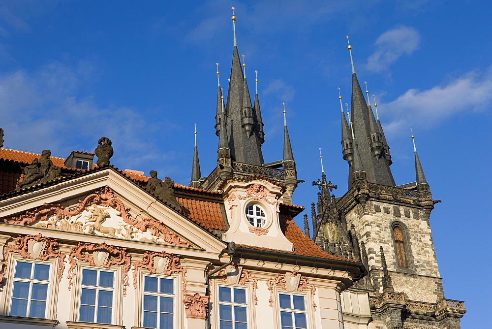 Kisky Palace, Old Town Square, Church of Our Lady before Tyn, Old Town, Prague, Czech Republic, Europe