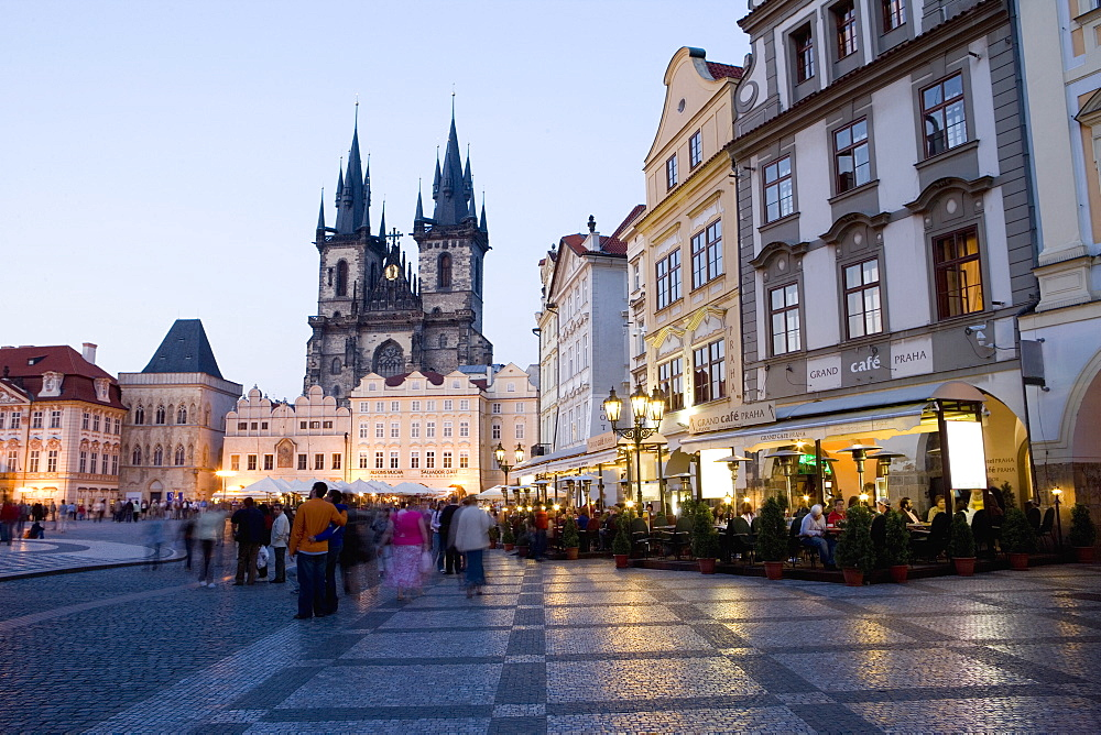 Evening, cafes, Old Town Square, Church of Our Lady before Tyn, Old Town, Prague, Czech Republic, Europe