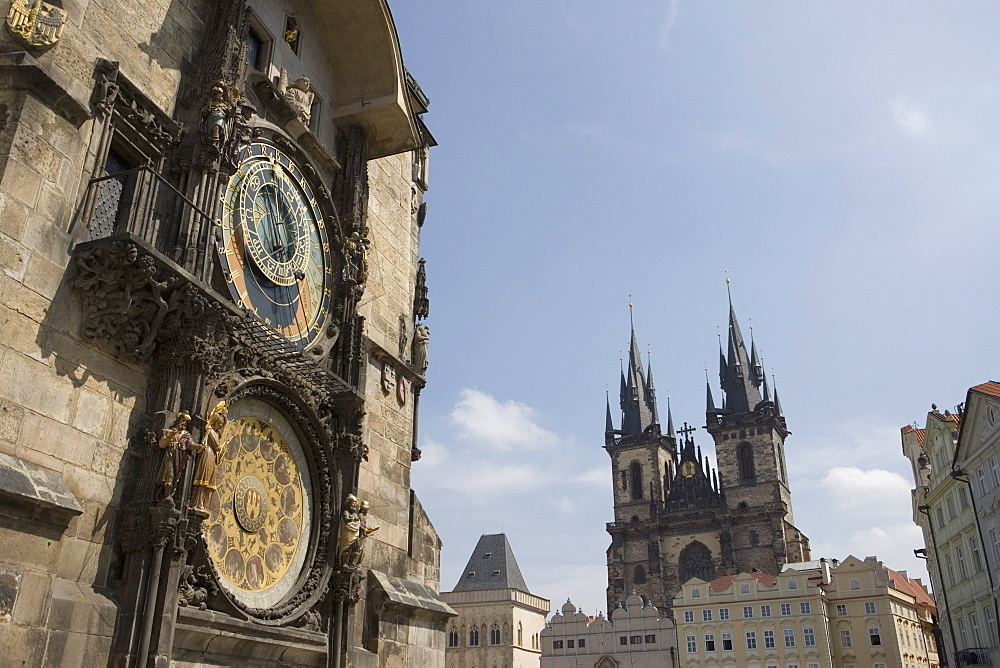 Town Hall Clock, Astronomical clock, and church of Our Lady before Tyn in background, Old Town Square, Old Town, Prague, Czech Republic, Europe