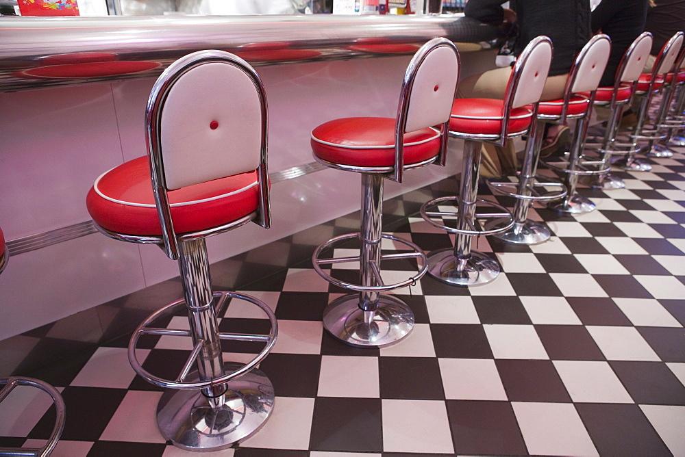 Interior of American Diner, Dublin, Republic of Ireland, Europe