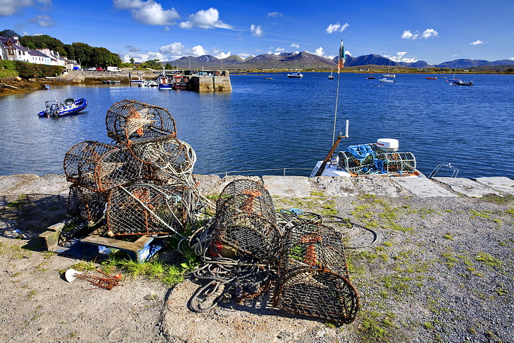 Lobster pots at Roundstone Harbour, Connemara, County Galway, Connacht, Republic of Ireland, Europe - 790-54