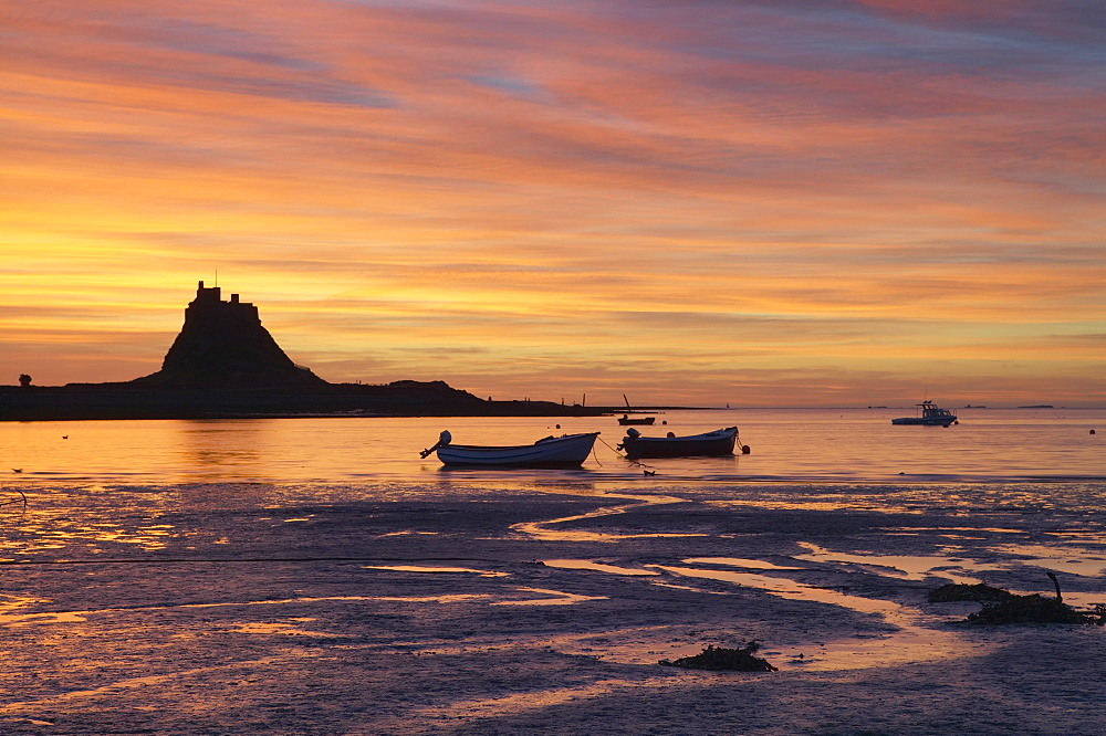 Lindisfarne at sunrise, Holy Island, Northumberland, England, United Kingdom, Europe - 790-7