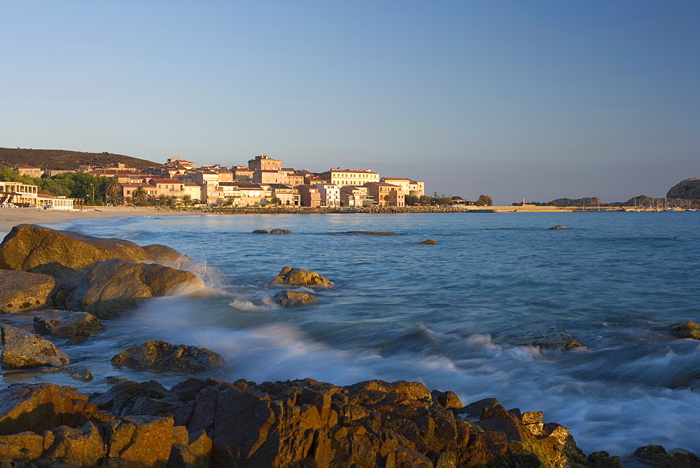 Old town and beach, L'lle Rousse, Corsica, France, Mediterranean, Europe - 791-15