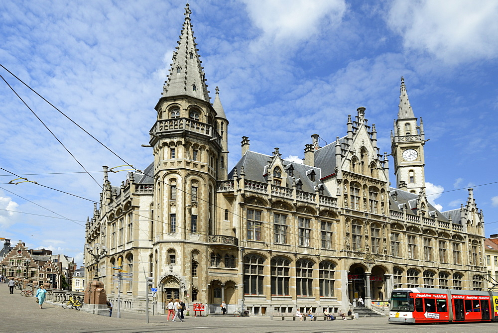 Tram in front of the Old Post Office building, Corn Market (Korenmarkt), Ghent, Flanders, Belgium, Europe