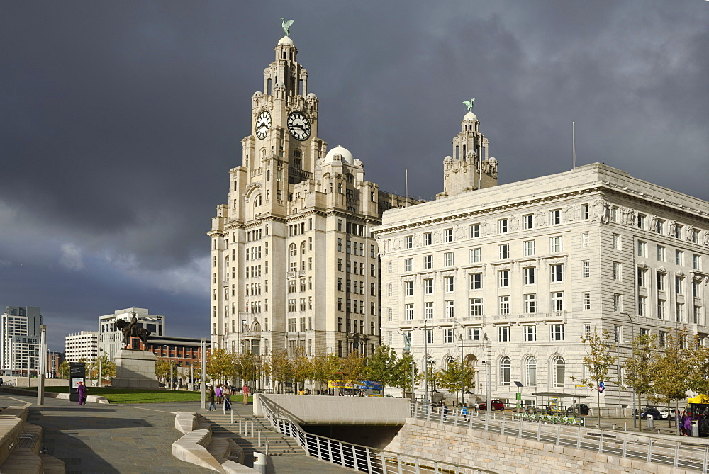 The Royal Liver Building and the Cunard Building, Pier Head, UNESCO World Heritage Site, Liverpool, Merseyside, England, United Kingdom, Europe