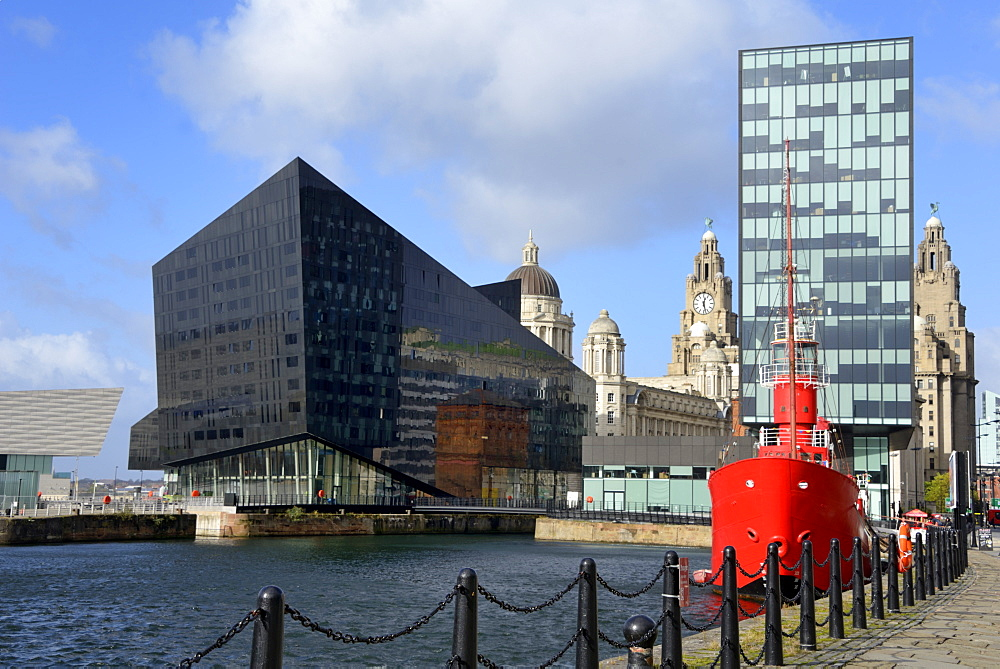 Mann Island and the Three Graces viewed from Canning Dock, Liverpool, Merseyside, England, United Kingdom, Europe