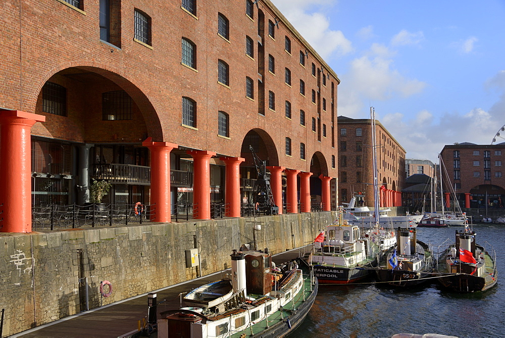 Boats moored in Albert Dock, UNESCO World Heritage Site, Liverpool, Merseyside, England, United Kingdom, Europe