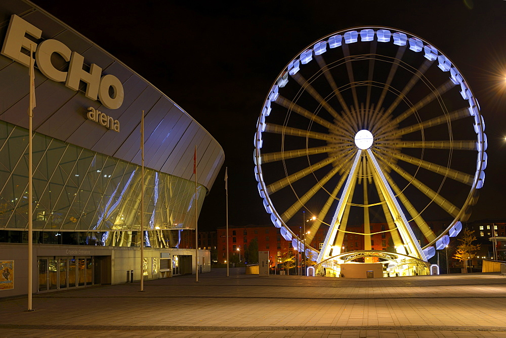 The Wheel of Liverpool and Echo Arena, Keel Wharf, Liverpool, Merseyside, England, United Kingdom, Europe
