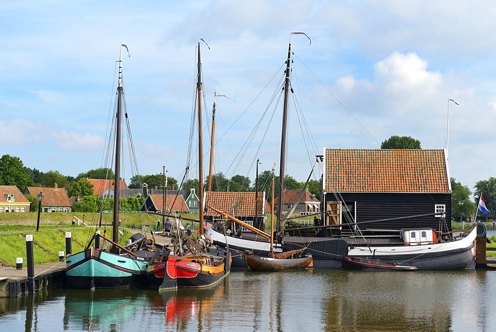 Boats in a fishing port at Zuiderzee Open Air Museum, Lake Ijssel, Enkhuizen, North Holland, Netherlands, Europe - 792-764