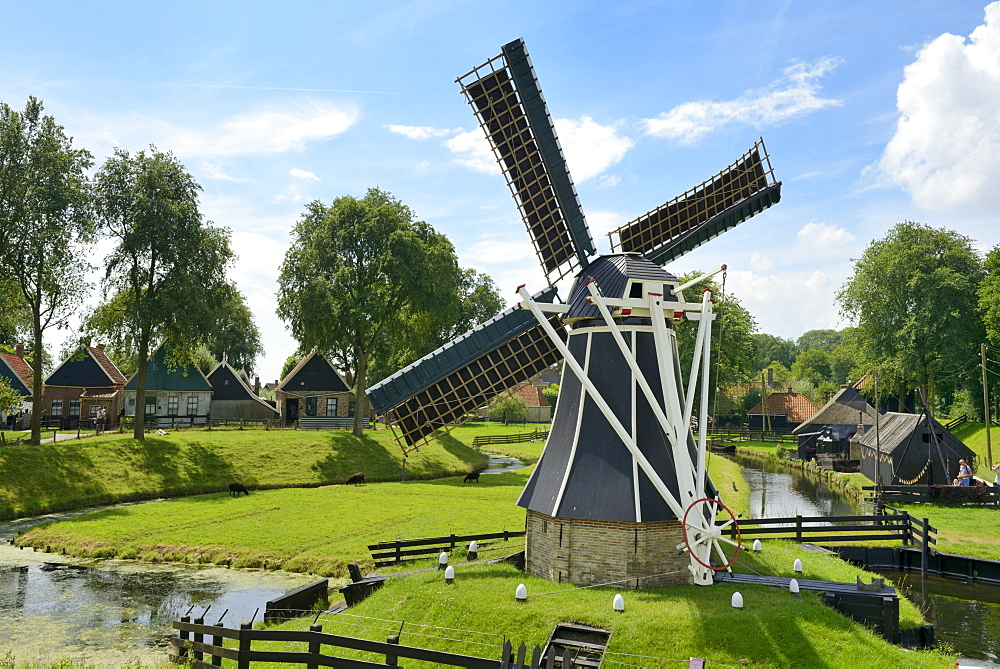 Traditional Dutch windmill, Zuiderzee Open Air Museum, Lake Ijssel, Enkhuizen, North Holland, Netherlands, Europe
