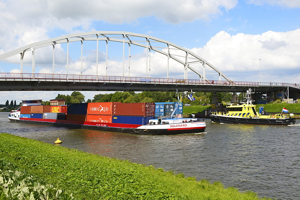 Barge carrying shipping containers, Amsterdam-Rhine Canal, Amsterdam, North Holland, Netherlands, Europe