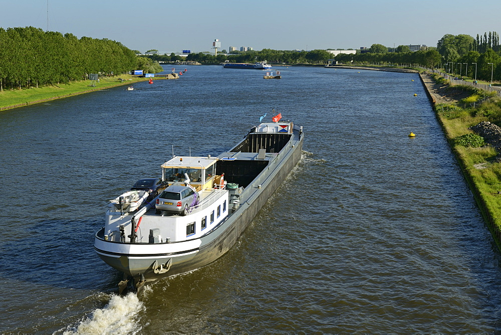 Barges on the Amsterdam-Rhine Canal, Amsterdam, North Holland, Netherlands, Europe