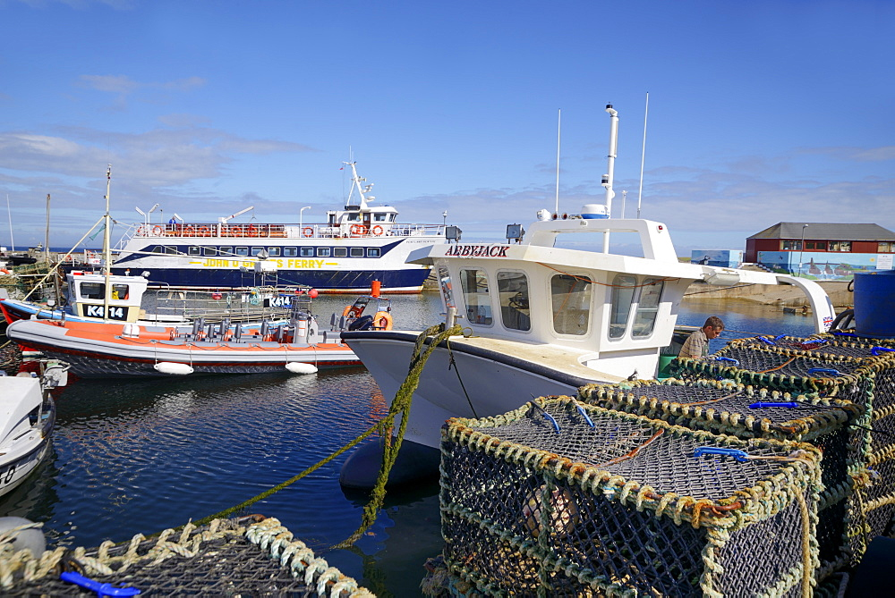 Crab pots and boats in the harbour, John O'Groats, Caithness, Highland Region, Scotland, United Kingdom, Europe - 792-786