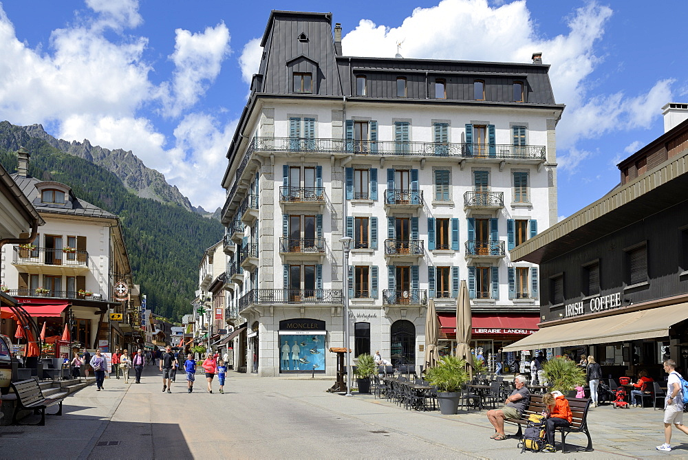 Hotel and shops, Chamonix Mont Blanc, French Alps, Haute Savoie, France, Europe - 792-800