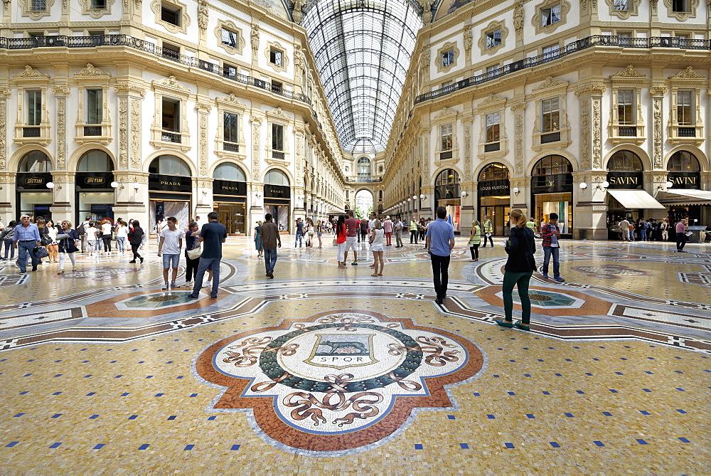 Mosaic tiled floor, Vittorio Emanuele II Gallery, Milan, Lombardy, Italy, Europe - 792-809