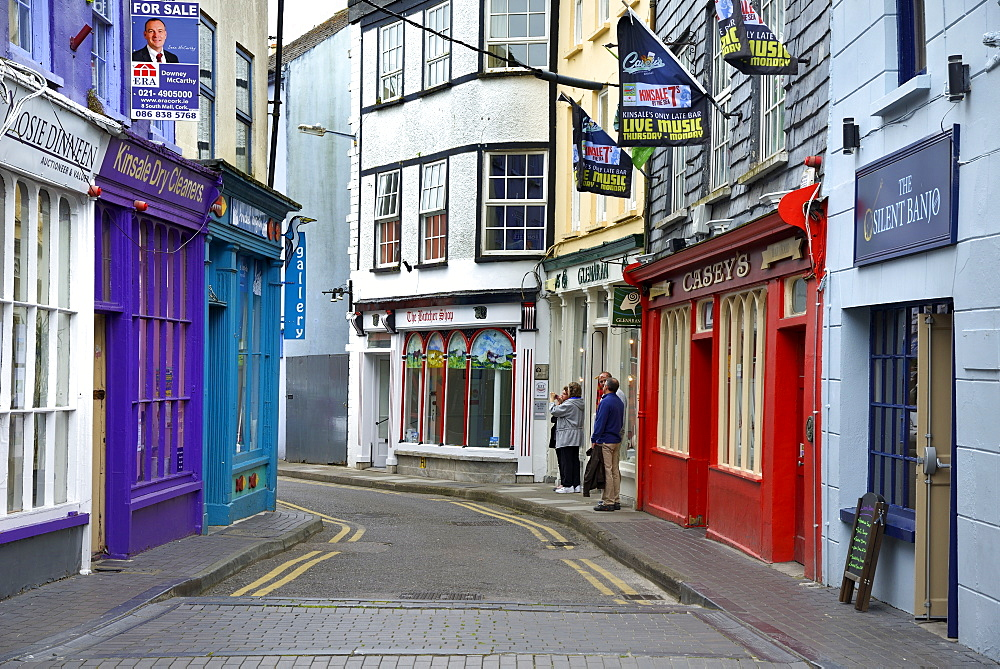 Brightly painted houses and shop facades, Market Lane, Kinsale, Wild Atlantic Way, County Cork, Munster, Republic of Ireland, Europe - 792-829