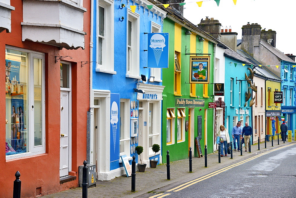 Brightly painted shop facades, Dingle, Dingle Peninsula, Wild Atlantic Way, County Kerry, Munster, Republic of Ireland, Europe