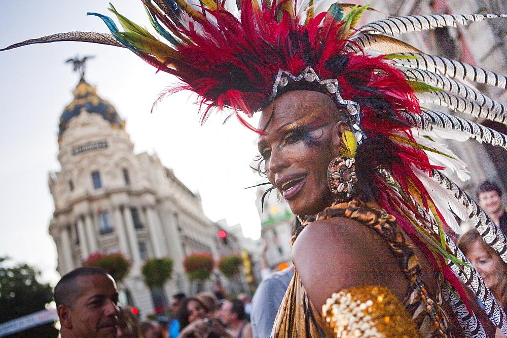 Gay Pride 2009, Metropolis building, Madrid, Spain, Europe