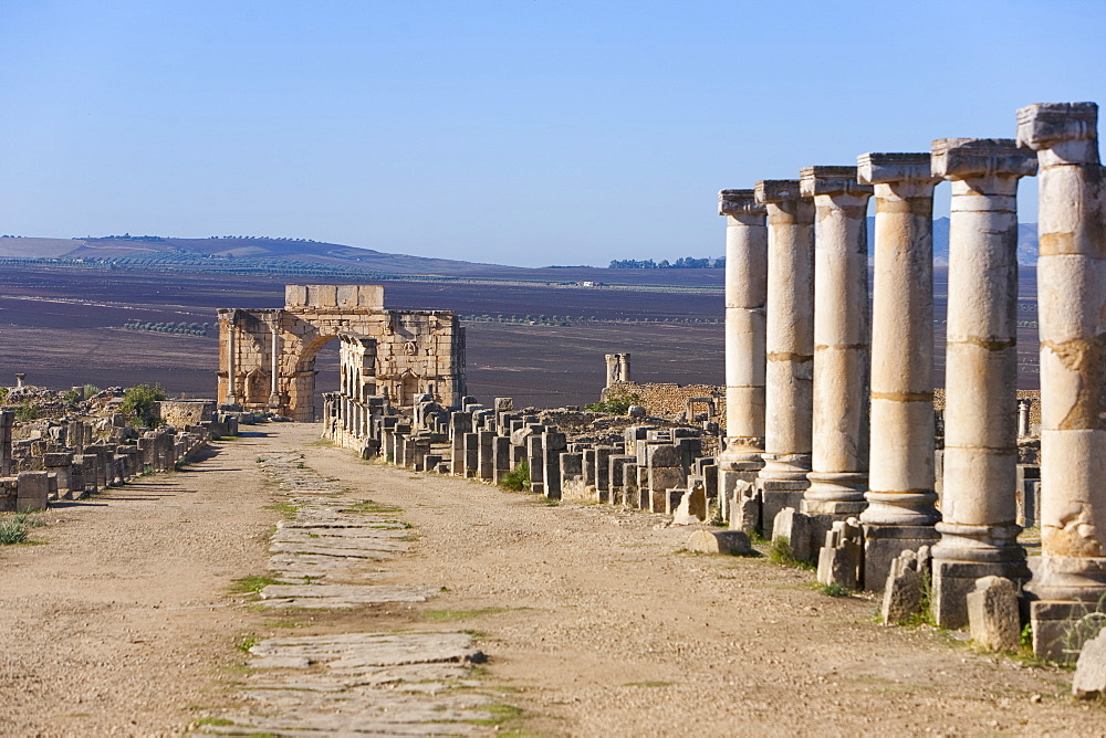 Triumph Arch, Roman ruins, Volubilis, UNESCO World Heritage Site, Morocco, North Africa, Africa