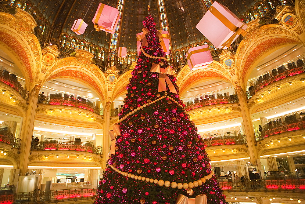 Galeries Lafayette interior during Christmas time, Paris, France, Europe - 793-1132