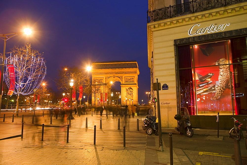 Cartier store, Champs Elysees, and Arc de Triomphe, Paris, France, Europe - 793-1137