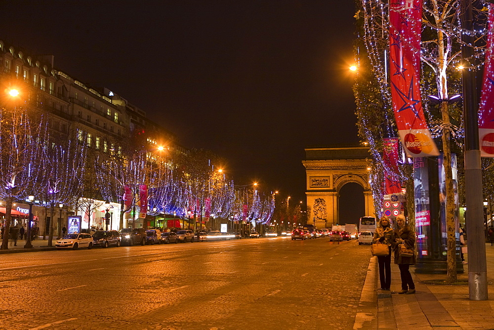 Champs Elysees at Christmas time, Paris, France, Europe - 793-1138