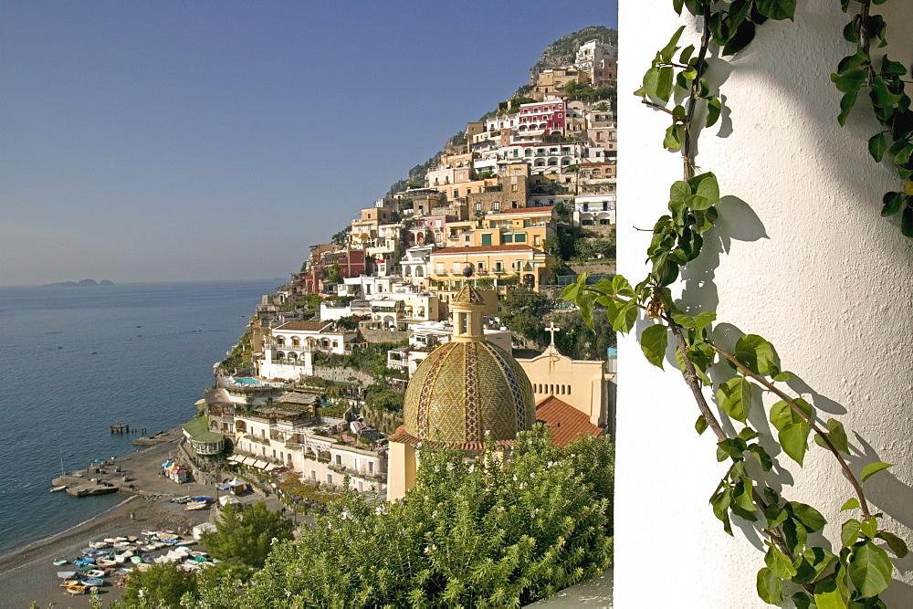 Positano, view from Hotel Sirenuse, Amalfi coast, UNESCO World Heritage Site, Campania, Italy, Europe - 793-76