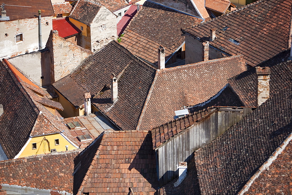 Roofs, Sighisoara, UNESCO World Heritage Site, Transylvania, Romania, Europe - 793-999