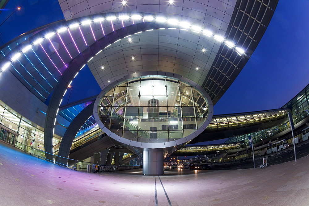 Stylish modern architecture of Terminal 3, opened in 2010, Dubai International Airport, Dubai, United Arab Emirates, Middle East