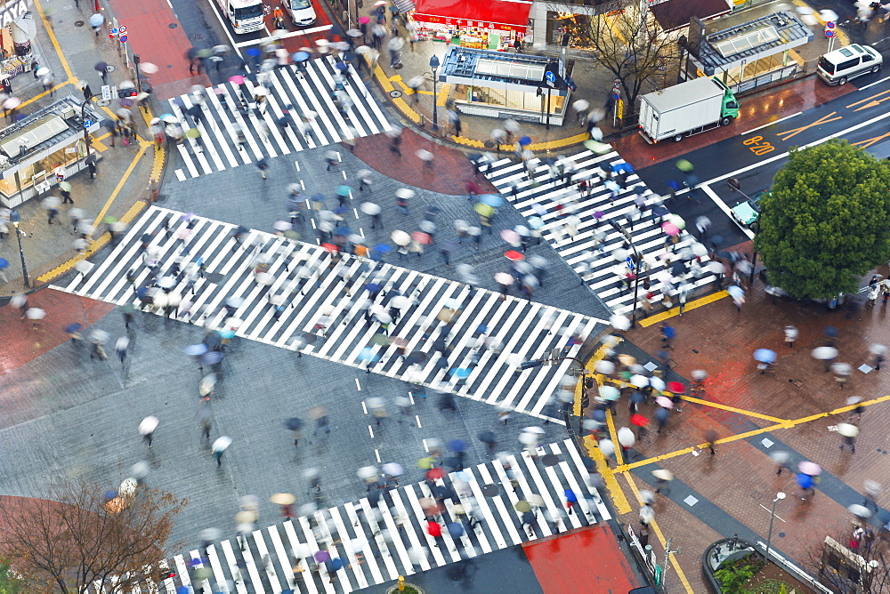 Aerial view of crowds crossing the famous Shibuya Crossing crosswalks at the centre of Shibuya's fashionable shopping and entertainment district, Shibuya, Tokyo, Japan, Asia - 794-1185