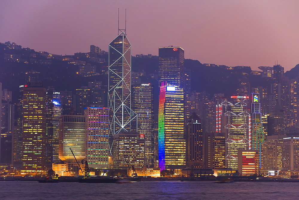 Victoria Harbour, night view of skyscrapers in Central district of Hong Kong Island, Hong Kong, China, Asia - 794-12