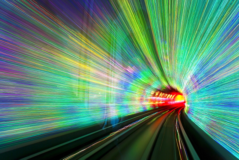 Blurred motion light trails in a train tunnel under the Huangpu River linking the Bund to Pudong, Shanghai, China, Asia - 794-1222