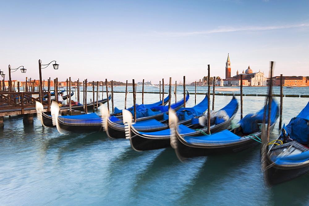 Quay at St Mark's Square with gondolas and the view to San Giorgio Maggiore Island, Venice, UNESCO World Heritage Site, Veneto, Italy, Europe - 794-1225