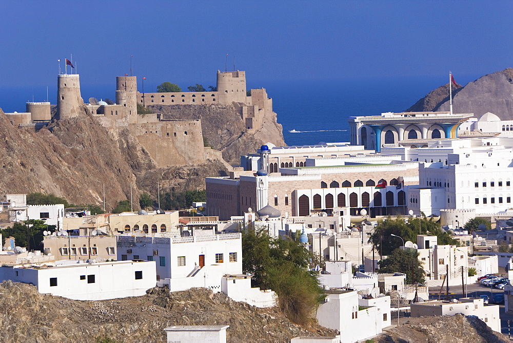 Elevated view over Muscat, Al-Mirani fort, government buildings and the Sultan's Palace, Muscat, Oman, Middle East