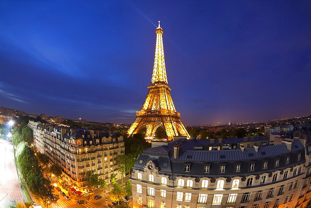 Eiffel Tower, viewed over rooftops, Paris, France, Europe - 794-1318