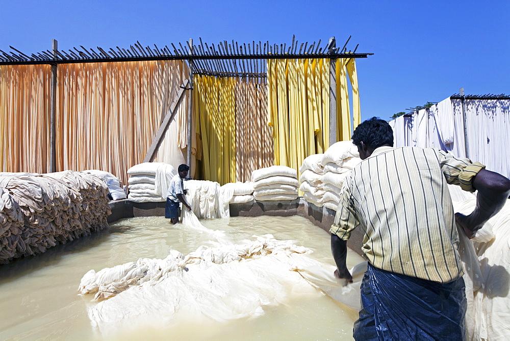 Bleaching pool, Sari garment factory, Rajasthan, India, Asia