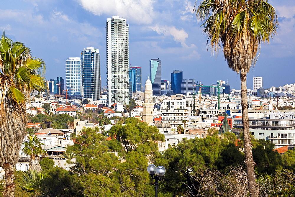 Downtown buildings viewed from HaPisgah Gardens (The Summit Garden), Jaffa, Tel Aviv, Israel, Middle East