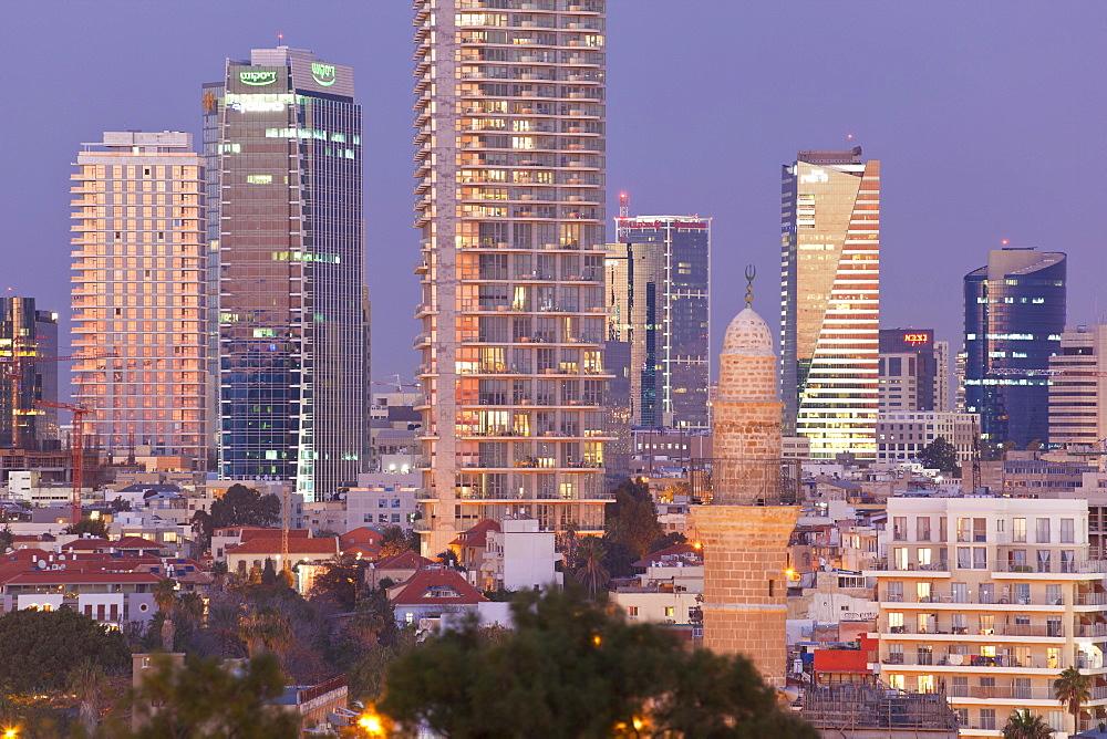 Downtown buildings viewed from HaPisgah Gardens Park, Jaffa, Tel Aviv, Israel, Middle East