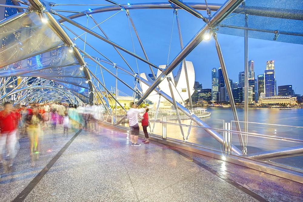 The Helix Bridge and Marina Bay Sands, Marina Bay, Singapore, Southeast Asia, Asia